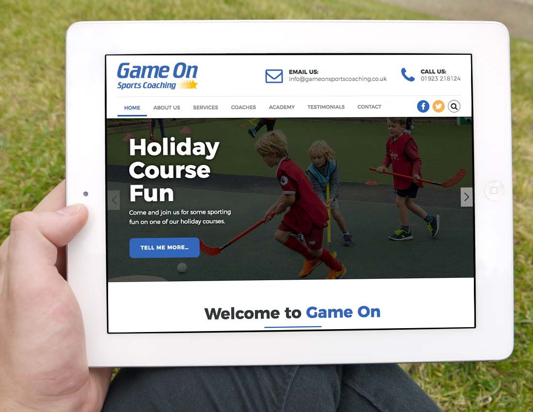 Game On Website iPad